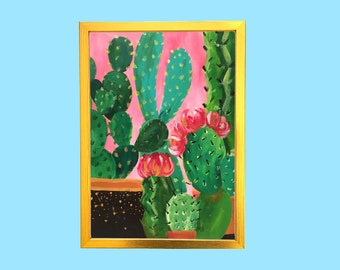 SALE! Illustrated Cactus Painting, A4 Art Print, Wall Decor