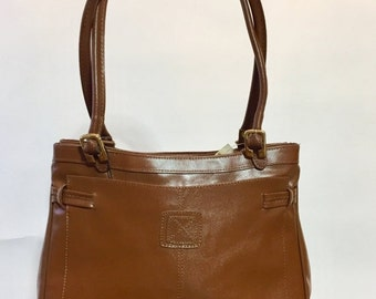 ON SALE 1960s mod brown leather handbag: 60s mod handbag / leather 60s purse / brown leather bag / vintage 1960s leather purse / mod leather