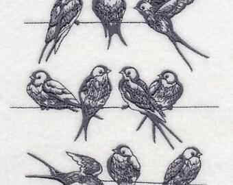 BIRDS ON WIRE dish/tea towel