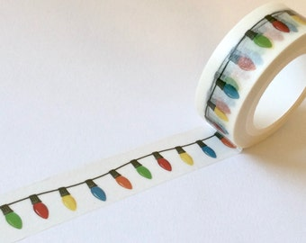 Christmas Washi Tape Print 'HOLIDAY LIGHTS' From MechaKucha808  15mm x 10 Meters