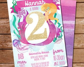 Pink Mermaid/Under the Sea 2nd Birthday Party Invitation - Watercolor Mermaid Invitation - Instant Download and Edit File with Adobe Reader