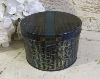 SALE was 125.00 - Rare Hat Box Toffee Tin Box, Blue Bird, 1920s 1930s, Blue Alligator, Vintage Vanity Antique Candy Tin, Fashionista Gift