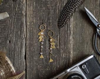 Gypsy earrings, triangle earrings, quartz crystal earrings, bohemian earrings, boho chic, gypsy jewelry, long hippie earrings, boho bride