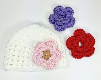 baby hat, crochet baby hat, 6-9 month baby hat, white hat, hat with flower, hand made hat