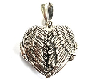 Art nouveau style Angle Fairy Wings locket 2 photo picture fob pendant charm 925 sterling silver family