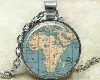 Vintage map of Africa art pendant, Africa map necklace, map jewelry, Afirca necklace, vintage map necklace, Africa necklace, Pendant#HG195P