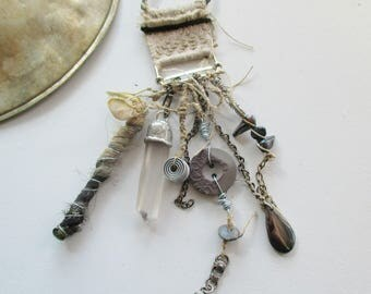 necklace with crystal, necklace with silk tassel, Necklace  pearls,  necklace with button, linen necklace, amulet necklace, hematite