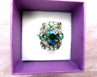 Crystal dress ring, aurora borealis, Victorian style, rope twist, faceted stones, adjustable sparkly ring, gift boxed, vintage jewellery
