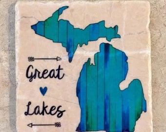 Set of 4 Tumbled Tile Michigan Coasters with Cork backing. Great Lakes