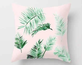 Blush Pink Palm Leaf Throw Pillow Cover, palm leaf pillow, pink leaf pillow, blush pink pillow, pink palm pillow, light pink pillow