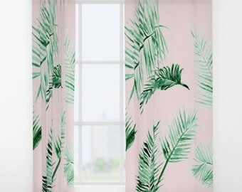 Pink Palm Leaf Curtains, pink window curtains, pink palm leaf, leaf window curtains, palm leaf curtain, window curtains, window curtain