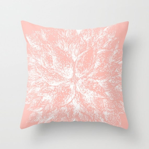 Items similar to Pink Flower Throw Pillow Cover, pink floral pillow, blush pink pillow, light ...