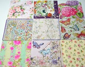 Mix of 9 Flower Design Paper Napkins for Decoupage, Flower Decoupage Paper Napkins for Mixed Media, Collage, Decoupage Craft