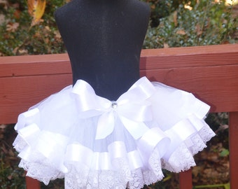 Ribbon and Lace Trimmed Tutu white