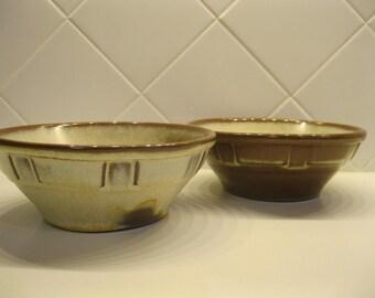 Frankoma Pottery, Cereal Bowls, Wagon Wheel Pattern, Desert Sand