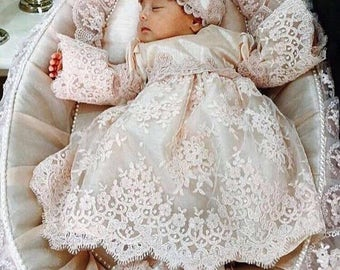 Baby Christening Gown | Baby Easter Dress | Baby Pageant Dress | Chantilly Lace Dress | Infant Lace Dress | Infant Dress | Baby Dress Set