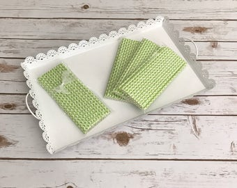 Lime Green Damask Paper Straws / Cake Pop Sticks - 25 Pieces
