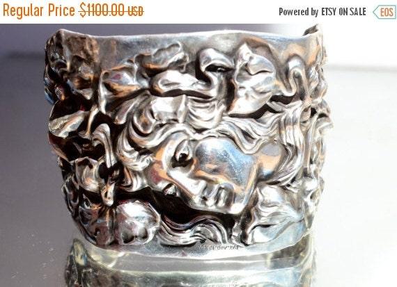SALE 40% OFF Antique Redlich Art Nouveau Goddess Antique Solid Sterling Silver 925  Wide Cuff Bracelet Poppies Floral Medusa Maiden Lady Fac
