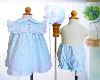 Six Months, Vintage Look Sundress, Bonnet, Bloomers, Classic, Special Occasion, Baby Gift
