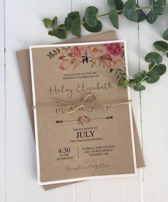 Cheap Rustic Wedding Invitation Kits: Items Similar To Kraft Wedding Invitation, Rustic Wedding