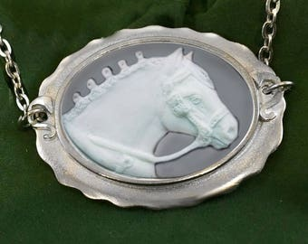 Cameo Draft Horse necklace