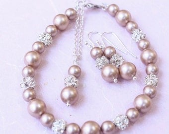 Champagne Pearl Jewelry Set, Ivory, White, Wedding Jewellery, Bridesmaid Gift, Bridal Pearl Set, Jewelry, Rhinestone Crystal