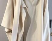 Vintage Gemini Wool Cape Cream One Size Fits All Poncho Cloak