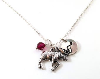 Moose - Silver- Swarovski Birthstone - Personalized Initial Necklace - Sterling Silver Jewelry - Gift for Her