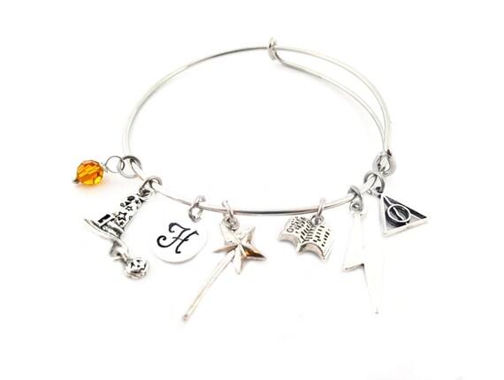 Wizard Bracelet - Harry Potter Inspired Adjustable Bangle - Witch Bracelet - Birthstone Bracelet - Personalized Jewelry - Gift For Her