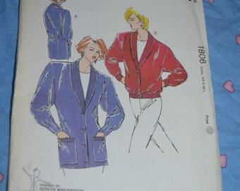 Kwik Sew 1806  Misses Cardigan Sewing Pattern - UNCUT  Size XS S M L XL