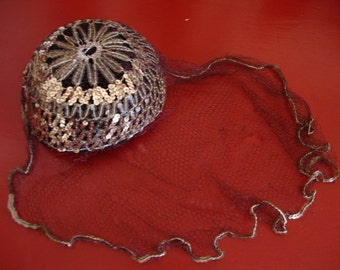 Silver Sequined and Veiled Women's Hat from the Fifties
