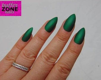 Hand Painted Press On False Nails, Metallic Matte Green, Long Length Stiletto