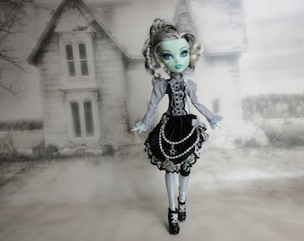Black, grey and silver gothic lolita Alice steampunk dress and legwarmers hand made fits Monster High