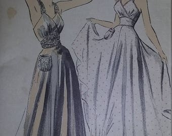 UNCUT and FF Pattern Pieces Vintage Advance 5378 Sewing Pattern Size 12 Bust 30 Hip 33 Glamorous Nightgown