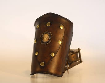 basic steampunk leather bracer with patch and cameo , made to order