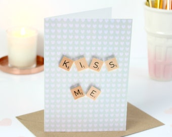 Kiss Me Scrabble Inspired Valentines Card, Scrabble Inspired Greetings Card, Holiday Cards