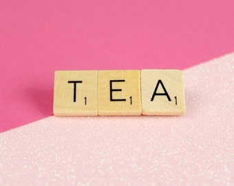 Wooden Scrabble Inspired Tea Brooch Pin, TEA Brooch, 3 Letter Word Brooch, Scrabble Christmas Gift