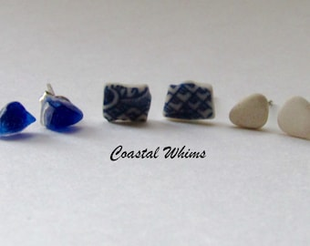 Three Post Sets, Mini Sea Glass Posts, Cobalt Sea Glass, Decorated Beach China, White Beach Pottery, Mismatch Post Studs, beach glass posts