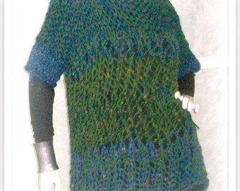 SWEATER WOMAN KNITTED   Smoke Free Home Chunky Bulky Open Stitch Loose Fitting