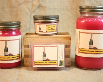 Strawberries and Champagne Candle, Strawberries and Champagne Wax Tarts, 26 oz, 12 oz, 4 oz Jar Candles or 3.5 Clam shell wax tarts