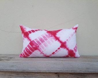 """Red and white pillow cover, pillow cover,tie dye pillow cover 12"""" x 20"""""""