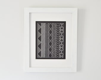 Black and White Geometric Art - Embroidered Pattern