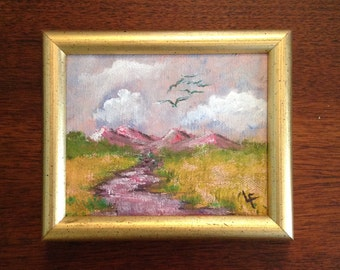 Small original framed painting landscape on canvas gold wood frame romantic cottage chic wall hanging art home decor