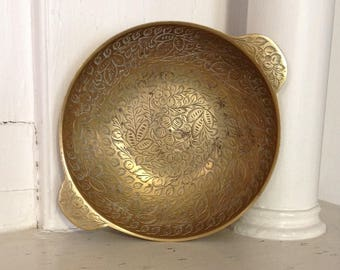 Etched brass bowl for jewelry trinkets nuts made in India Asian bohemian boho chic hippie retro home decor
