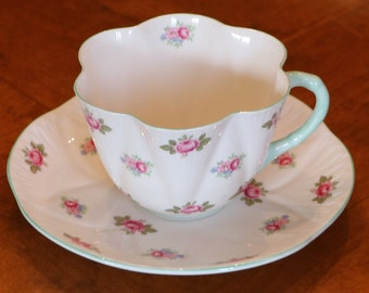 "Shelley English Bone China ""Rosebud"" Pink and Green Floral Pattern Teacup and Saucer Set for Showers, Afternoon Teas, Luncheons"