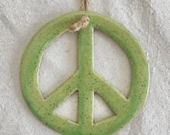 Ceramic Peace Sign Ornament