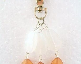 Handbag Charm Bespoke White and Golden Brown Acrylic - 2646