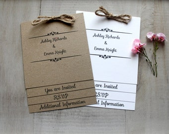 Handmade Wedding Invitation Shabby Chic Vintage with RSVP Card, Gift Wish and Extra Information Card