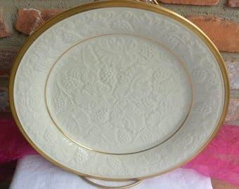 Lenox Plantation Platter - Disc., Embossed Grape Design, 24K Gold - Vintage - Stunning!