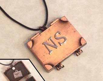 Geek Inspired Wizard's Suitcase/ Trunk locket pendant with letter inside - gifts under 15